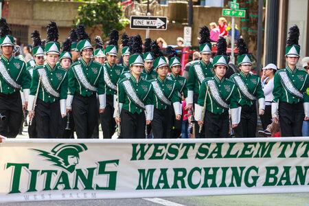 portland oregon: Portland, Oregon, USA - JUNE 7, 2014  West Salem High School Marching Band in Grand floral parade through Portland downtown