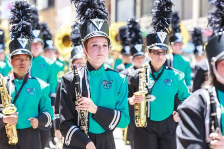 Portland, Oregon, USA - JUNE 7, 2014: Century High School Marching Band in Grand Floral Parade through Portland downtown.