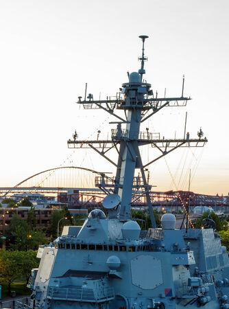 Portland, Oregon, USA - JUNE 7, 2014: Guided-missile destroyer USS Spruance (DDG 111) participates in the 105th Portland Rose Festival in Portland, Oregon.
