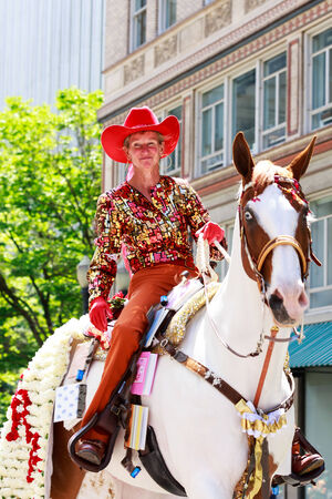 Portland, Oregon, USA - JUNE 7, 2014  Maggy Constantino in Grand floral parade through Portland downtown