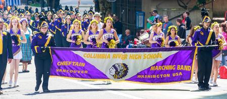 portland oregon: Portland, Oregon, USA - JUNE 7, 2014  Columbia River High School Marching Band in Grand floral parade through Portland downtown  Editorial