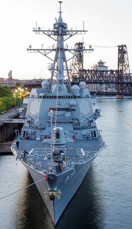 Portland, Oregon, USA - JUNE 7, 2014  Guided-missile destroyer USS Spruance  DDG 111  participates in the 105th Portland Rose Festival in Portland, Oregon
