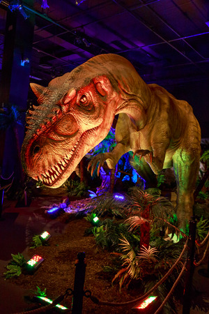 Portland, Oregon - AUGUST 2, 2014: A lively Allosaurus is on exhibition as part of Dinasours Unearthed in Oregon Museum of Science and Industry.