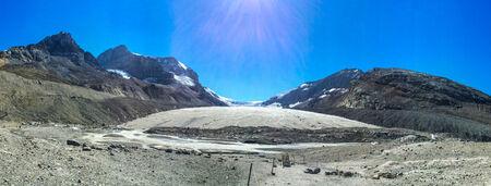 icefield: Receding Athabasca Glacier in Jasper National Park, Alberta Canada.