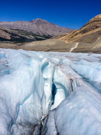 jasper: Typical Crevice Athabasca Glacier in Jasper National Park, Alberta Canada