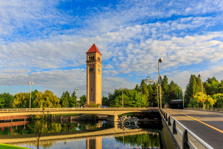 riverfront: Clock Tower in Riverfront park, Spokane, Washington Stock Photo