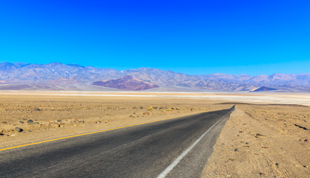 sierra nevada mountain range: Desert Highway And Mountains, Death Valley National Park, California