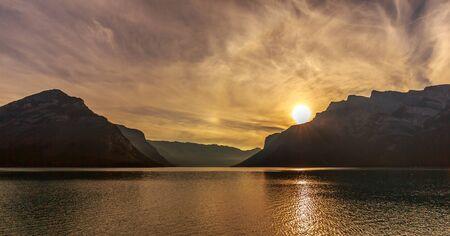 alberta: Sunrise at Lake Minnewanka near Baff, Alberta, Canada