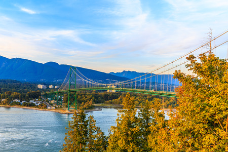 Suspension bridge over Burrard Inlet,connecting the city with the North and West Vancouver area.View from Prospect Point,Stanley Park.