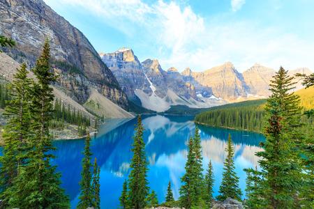 rockies: Idyllic Moraine Lake in Banff National Park, Canadian Rockies