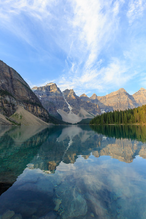 rockies: Idyllic Moraine Lake in Banff National Park, Canadian Rockies