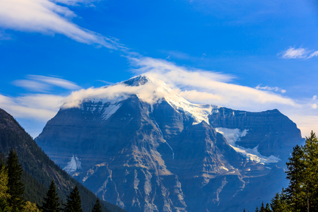 canadian rockies: Mount Robson, the highest point in the Canadian Rockies, viewing from its south side.