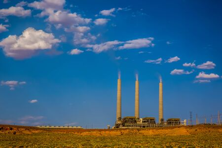 electric generating plant: Page, Arizona - JUNE 3, 2013: The coal fired Navajo Generating Plant is said to be one of the 12th dirtiest power plants in the US.