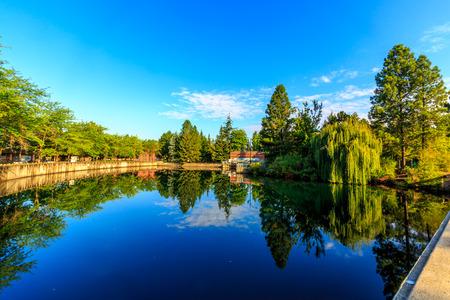 riverfront: Pond of Riverfront park at downtown Spokane, Washington