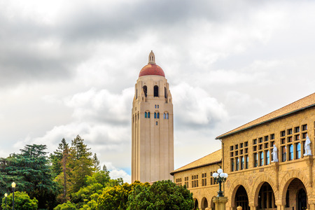 famous industries: Stanford, California, USA, May 26, 2013: The famous Stanford University campus with Hoover Tower located near Palo Alto, California. Editorial