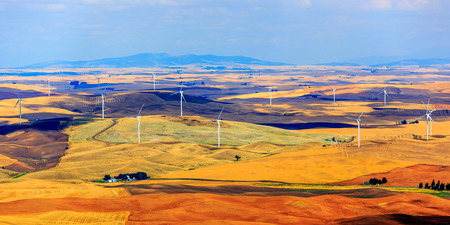 famous industries: Wind turbines seen from the Steptoe Butte State Park lookout. One of the largest wind farms in the country. Seen in the Palouse area of Eastern Washington state, USA. Stock Photo
