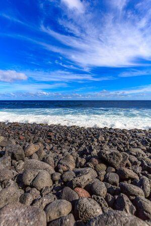 big island: Black sand beach at Kaimu beach park, Big Island, Hawaii. Stock Photo