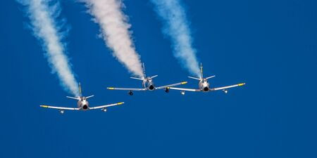 sabre's: Hillsboro, Oregon - September 20, 2014: Bremont Horsemen F-86 Sabres perform at Oregon International Air Show.