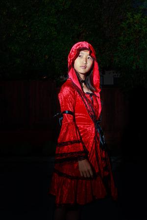 caperucita roja: Caperucita roja, en la oscuridad de la noche Foto de archivo