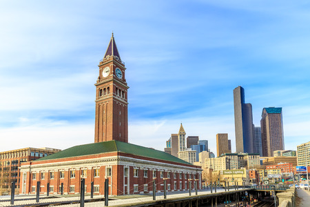 local landmark: Seattle Washington  March 5 2015: King Street Station is a train station built in 1906 with clock tower as the local landmark.