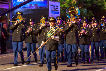 starlight: Portland, Oregon, USA - May 30, 2015:  234th Army Band of Oregon National Guard in the Starlight Parade during Portland Rose Festival 2015. Editorial