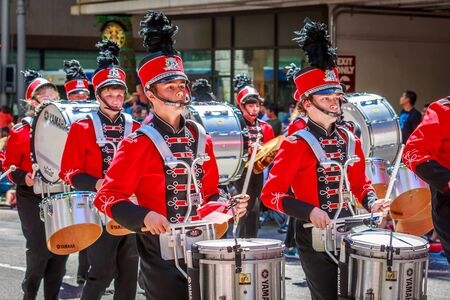 marching band: Portland, Oregon, USA - June 6, 2015: Oregon City High School Marching Band in the Grand Floral Parade during Portland Rose Festival 2015.