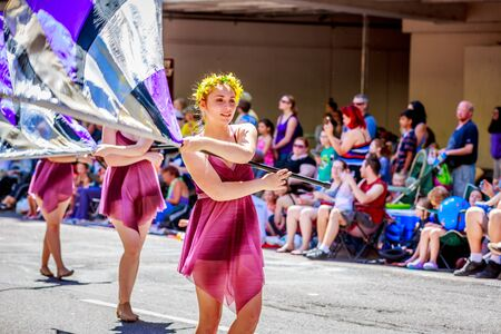 school band: Portland, Oregon, USA - June 6, 2015: Columbia River High School Marching Band in the Grand Floral Parade during Portland Rose Festival 2015. Editorial