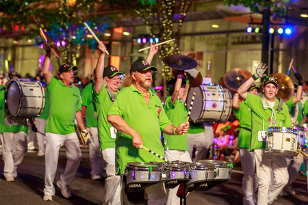 starlight: Portland, Oregon, USA - May 30, 2015: One More Time Around Again Marching Band in the Starlight Parade during Portland Rose Festival 2015.