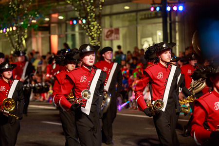 starlight: Portland, Oregon, USA - May 30, 2015: Bellingham High School Marching Band in the Starlight Parade during Portland Rose Festival 2015.