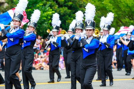 titans: Washinton, D.C., USA - July 4, 2015: Norris High School Marching Titans in the annual National Independence Day Parade 2015.