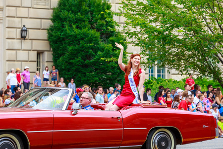 district of colombia: Washinton, D.C., USA - July 4, 2015: Miss District of Columbia in the annual National Independence Day Parade 2015.