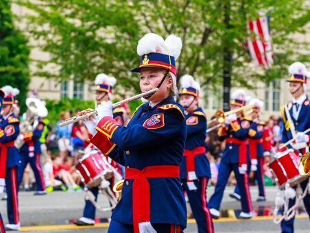 school band: Washinton, D.C., USA - July 4, 2015:  Småbispan, the Bispehaugen School Band from Norway, in the annual National Independence Day Parade 2015. Editorial