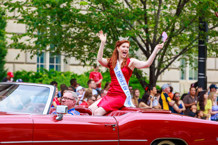 district columbia: Washinton, D.C., USA - July 4, 2015: Miss District of Columbia in the annual National Independence Day Parade 2015.