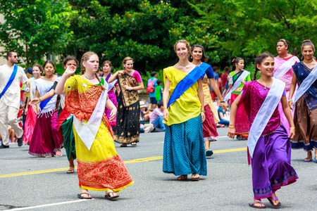 consciousness: Washinton, D.C., USA - July 4, 2015: International Society for Krishna Consciousness in the annual National Independence Day Parade 2015. Editorial
