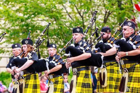 highlander: Washinton, D.C., USA - July 4, 2015: West Virginia Highlander Band of Davis & Elkins College in the annual National Independence Day Parade 2015.