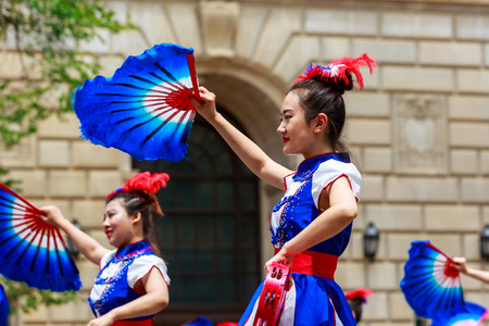 chinese american: Washinton, D.C., USA - July 4, 2015: Greater Washington Chinese American Community in the annual National Independence Day Parade 2015.