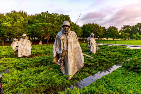 Stainless Steel Statutes of soldiers in Korean War Veterans Memorial, Washington DC.