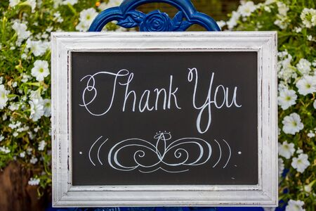 thankyou: A hand-written thank-you sign on a blackboard, in front of white flowers.