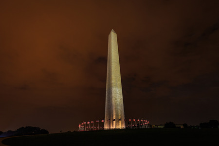 washington monument: Washington Monument viewed in the late night. Stock Photo