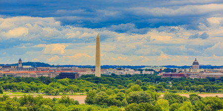 washington monument: Washington, D.C. cityscape with Washington Monument and Capitol Hill, viewed from Arlington National Cemetery.
