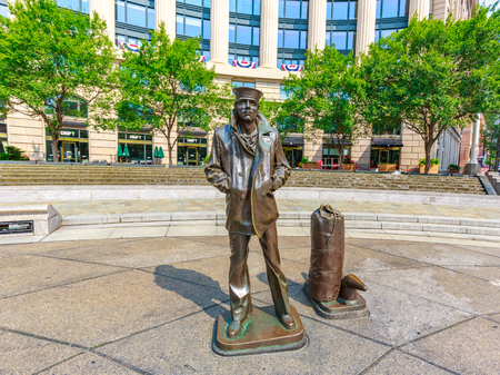 The Lone Sailor, a 1987 bronze sculpture, is a tribute to all the personnel of the sea services, for the United States Navy Memorial in Washington, DC.