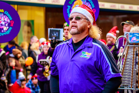 macys: Portland, Oregon, USA - November 27, 2015: One More Time Around Again Marching Band in the annual My Macys holiday Parade across Portland Downtown. Editorial