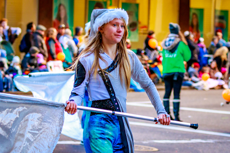 macys: Portland, Oregon, USA - November 27, 2015: Hillsboro High School Marching Band in the annual My Macys holiday Parade across Portland Downtown.