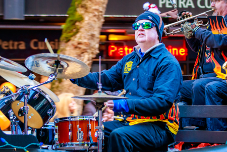 macys: Portland, Oregon, USA - November 27, 2015: Power Pep Band in the annual My Macys holiday Parade across Portland Downtown.