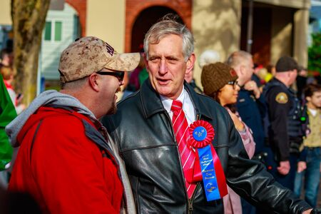 veterans day: Portland, Oregon, USA - November 11, 2015: Mayor Charlie Hales march in the annual Ross Hollywood Chapel Veterans Day Parade, in northeast Portland.