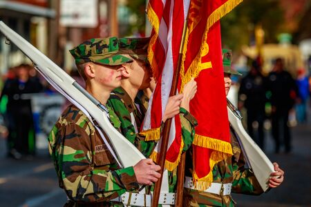 veterans day: Portland, Oregon, USA - November 11, 2015: Oregon Cascade Young Marines march in the annual Ross Hollywood Chapel Veterans Day Parade, in northeast Portland.