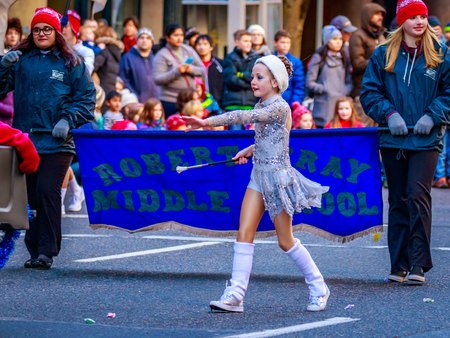 macys: Portland, Oregon, USA - November 27, 2015: Robert Gray Middle School Marching Band in the annual My Macys holiday Parade across Portland Downtown. Editorial