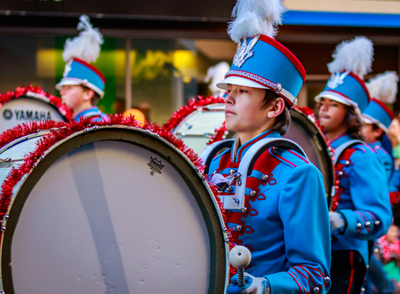 macys: Portland, Oregon, USA - November 27, 2015: Madison High School Marching Band in the annual My Macys holiday Parade across Portland Downtown. Editorial