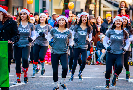 macys: Portland, Oregon, USA - November 27, 2015: Parkrose Elite Dance Team march in the annual My Macys holiday Parade across Portland Downtown.