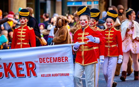 macys: Portland, Oregon, USA - November 27, 2015: Costumed characters from the Nut Cracker show march in the annual My Macys holiday Parade across Portland Downtown. Editorial